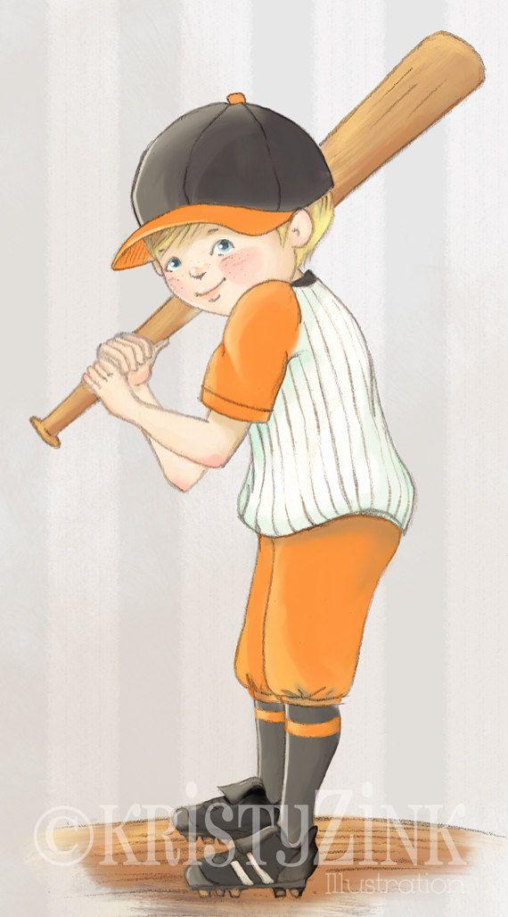 Impresión del arte infantil jugador de béisbol en por KristyZink