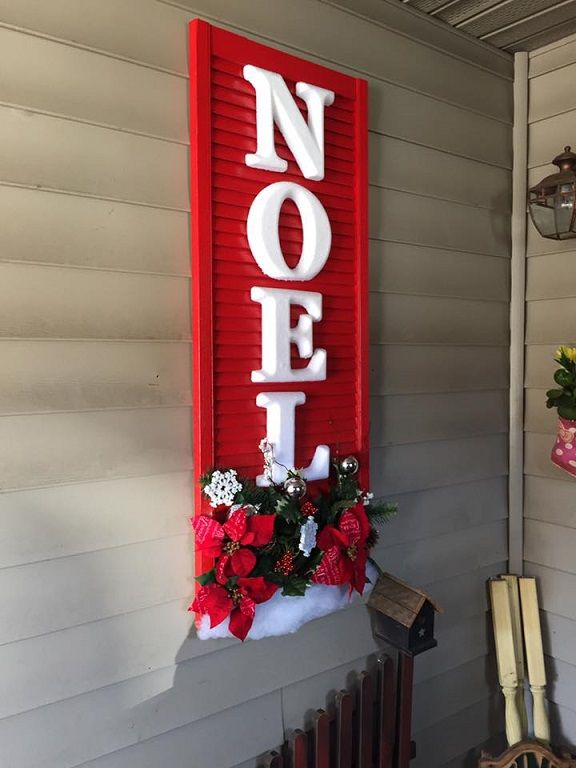 """Beautiful decorated Christmas shutter doors for wall art! It says """"Noel"""" and """"Let it snow"""""""
