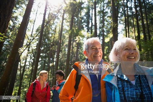 Stock Photo : Senior couple hiking in sunny woods