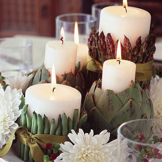 Create a creative St. Patrick's Day centerpiece with green veggetables and white candles