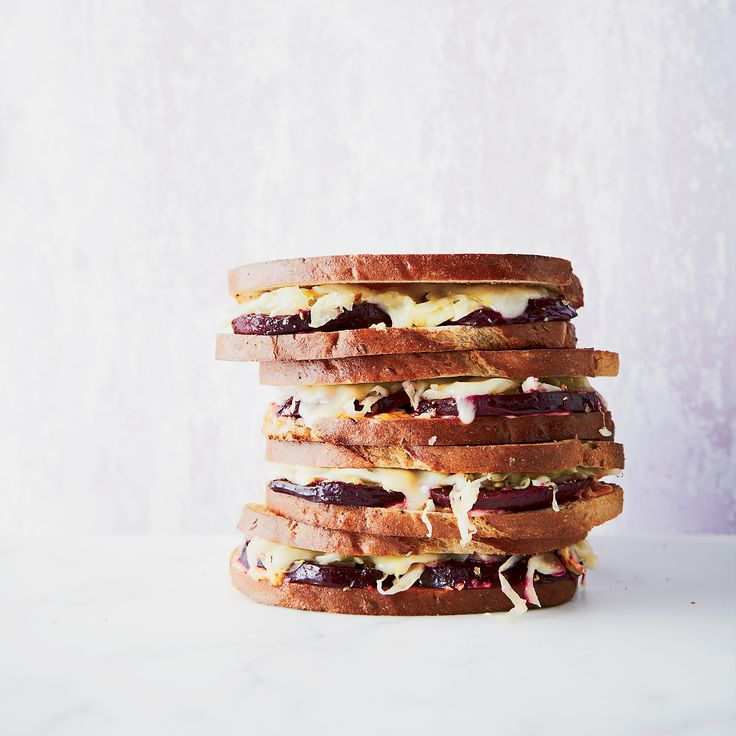 This vegetarian take on a Reuben sandwich swaps beets and smoked salt for the classic pastrami.