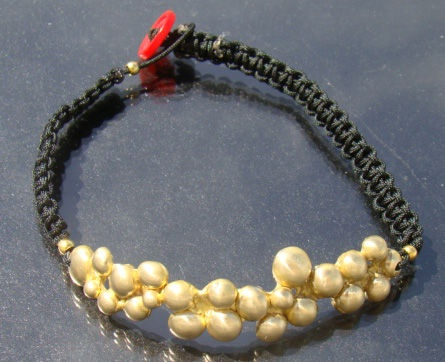 Men's Hobo Brass Bubble Bracelet  (men's,hobo,bracelet,brass jewelry,macramé,button,bubbles,steam punk jewelry)