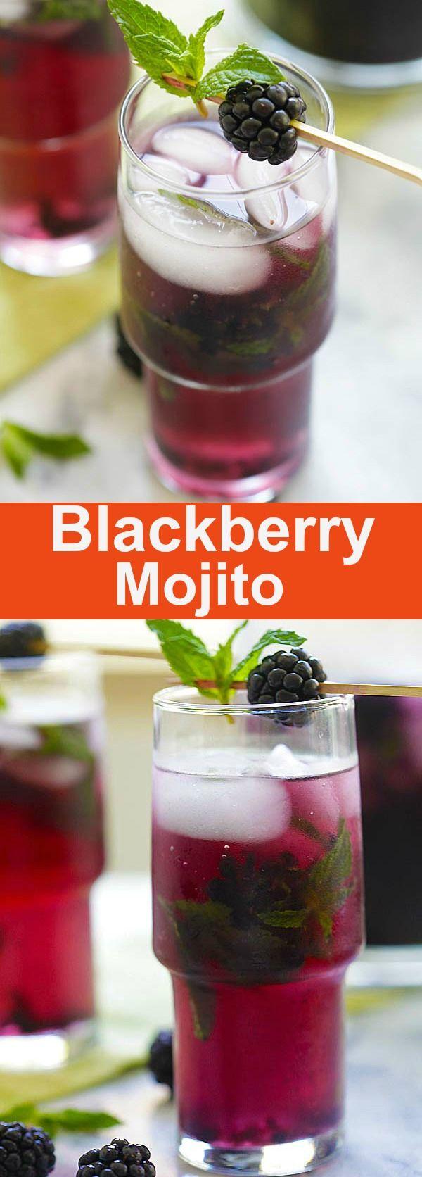 Blackberry Mojito - classic mojito cocktail with loads of blackberry. Fruitiest and booziest homemade mojito recipe ever | rasamalaysia.com
