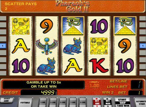 Игровые автоматы Pharaohs Gold II на деньги. Тема Древнего Египта очень популярна среди производителей онлайн слотов. Игровой автомат Золото Фараона 2 от компании Novomatic также посвящен фараонам, пирамидам и сокровищам. Игра в нем происходит на 5 барабанах и 9 линиях выпл�