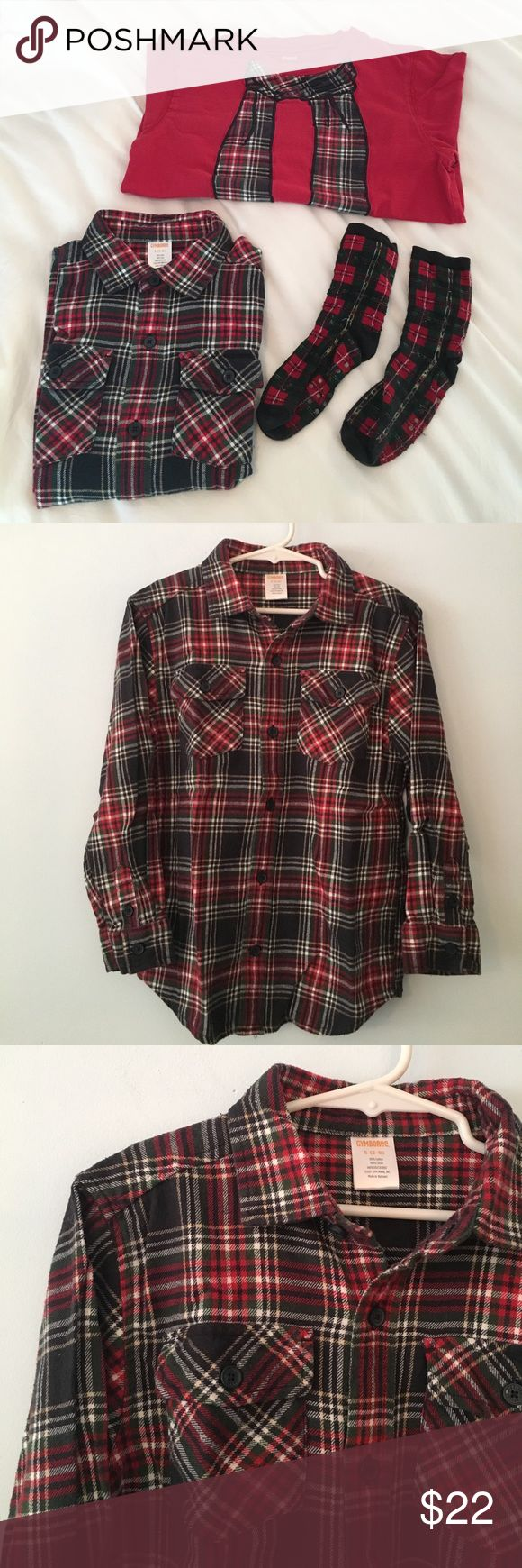 Gymboree plaid bundle Excellent used condition Gymboree plaid bundle. 2 shirts - 1. Plaid button down size small 5-6, 100% cotton. 2. Red long sleeves tee with plaid scarf. Size 7, 100% cotton. Although tee is size 7 it is about the same size as plaid shirt, only has longer arms. Also includes matching plaid socks, these have some pilling. Gymboree Matching Sets