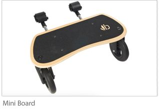The new Bumbleride Mini Board, a skateboard-style stand that attaches to the back of the stroller, offers a fun and dynamic transitional tool for growing toddlers, while also extending the lifespan and relevance of the Bumbleride stroller. Compatible with the Bumbleride Indie and Indie Twin strollers, the Mini Board features a slip-resistant deck to stabilize toddlers' toes as they ride in the standing position, holding on to the handlebar.
