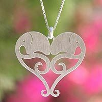Sterling silver heart necklace, 'Elephant Sweethearts'