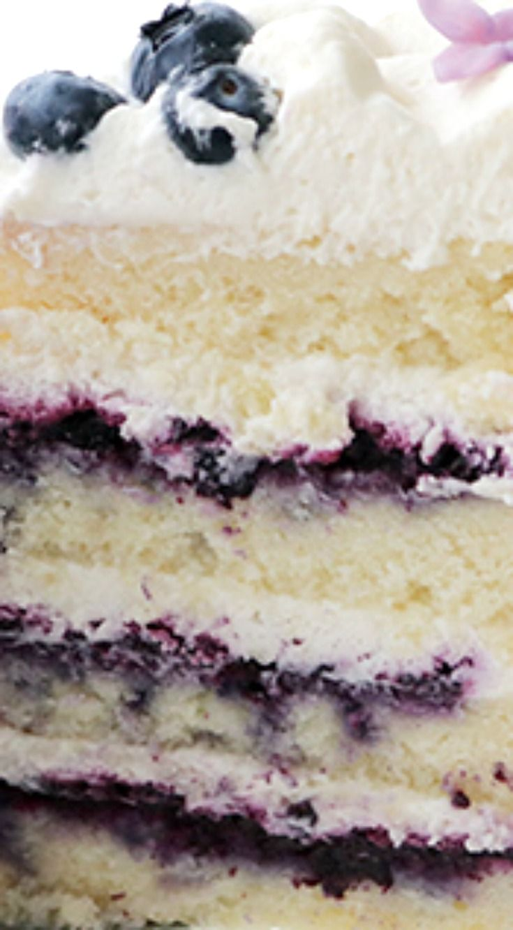 Blueberry Cream Cake ~ Layers of vanilla cake, homemade blueberry jam and fluffy…   – bars,cakes,cupcakes