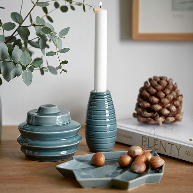 The popular and much-loved Cono candle holders and storage jars are now available in blue and grey shades reminiscent the cold nordic winters and the clear night sky.
