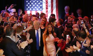 Donald Trump and his wife Melania Trump arrive to speak to supporters at Trump Tower in Manhattan following his victory in the Indiana primary. The last two candidates Ted Cruz and John Kasich suspended their campaigns and Trump was declared the presumptive Republican nominee