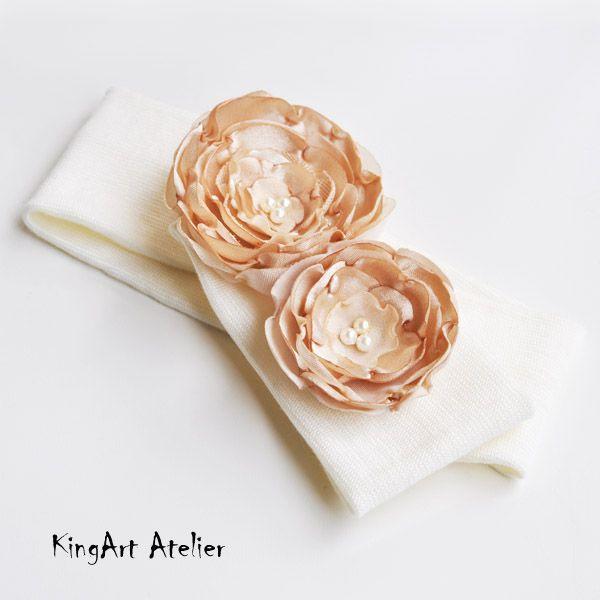 Hairband with golden handmade satin flowers by KingArt Atelier