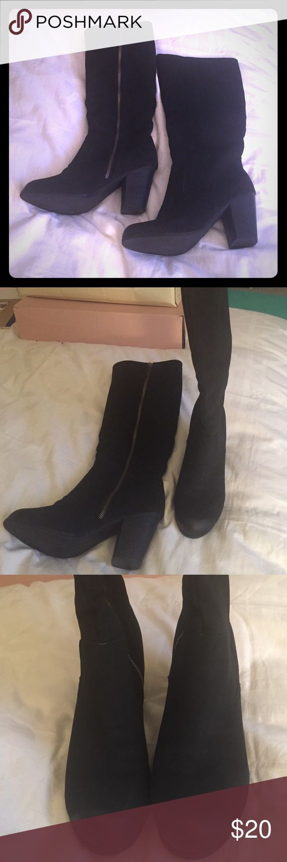 Tall Black Zip Up Boots Mossimo Keira tall black zip up boots. Only worn once! Mossimo Supply Co Shoes Heeled Boots