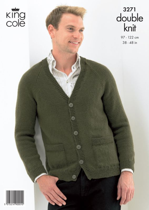 men's cardigan sweater pattern | King Cole Sweater and Cardigan Mens Knitting Pattern 3271