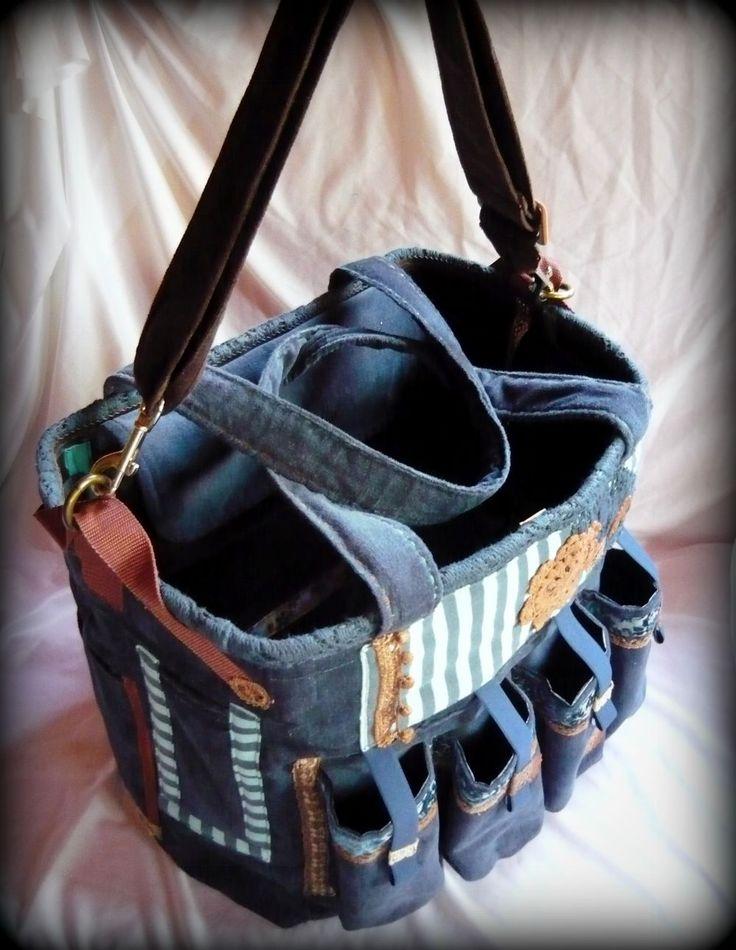 Handmade by Judy Majoros -Blue-brown velvet striped chrochet scrapbooking tote-bag. Recycled bag. Materials:chrochet-leatherette-rubber strap-velcro-canvas...