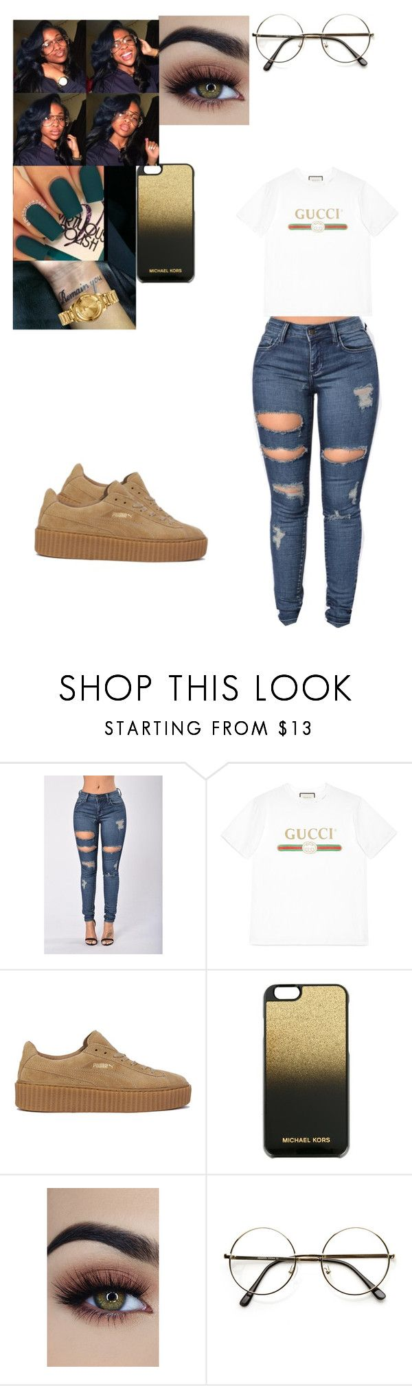 """Untitled #101"" by mcoats67 ❤ liked on Polyvore featuring Gucci, Puma, MICHAEL Michael Kors, OPI, ZeroUV and Versus"