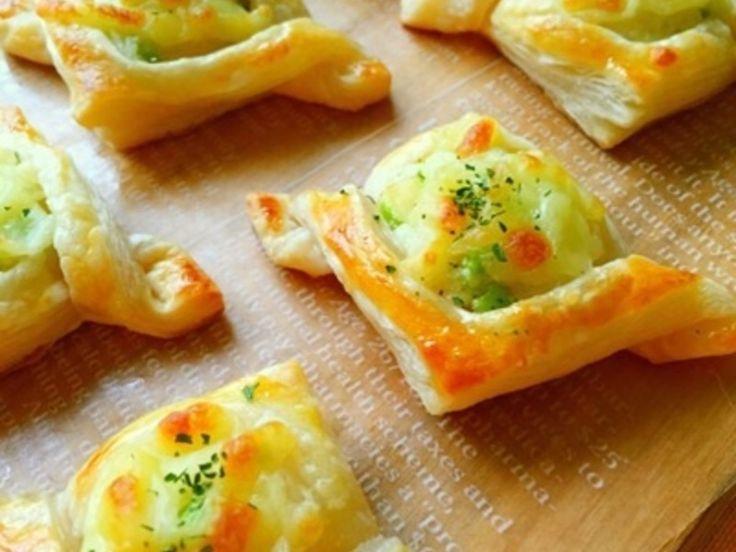 冷凍のパイ生地・枝豆を使って簡単に作れるフィンガーフードです♪ ジャガイモをレンジでチンし時短で作れます♪ サクサクのパイ生地にホクホクのジャガイモがとっても美味しいですよっ( ^ω^ )