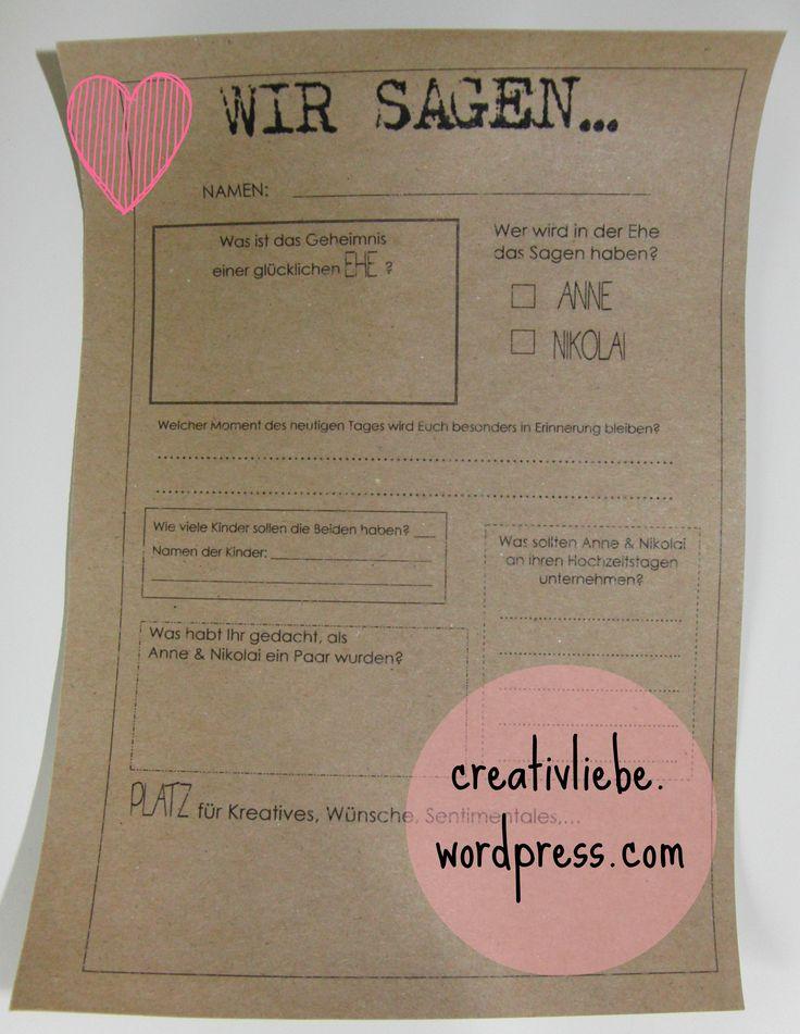 DIY: Fragebogen für Hochzeitsgäste