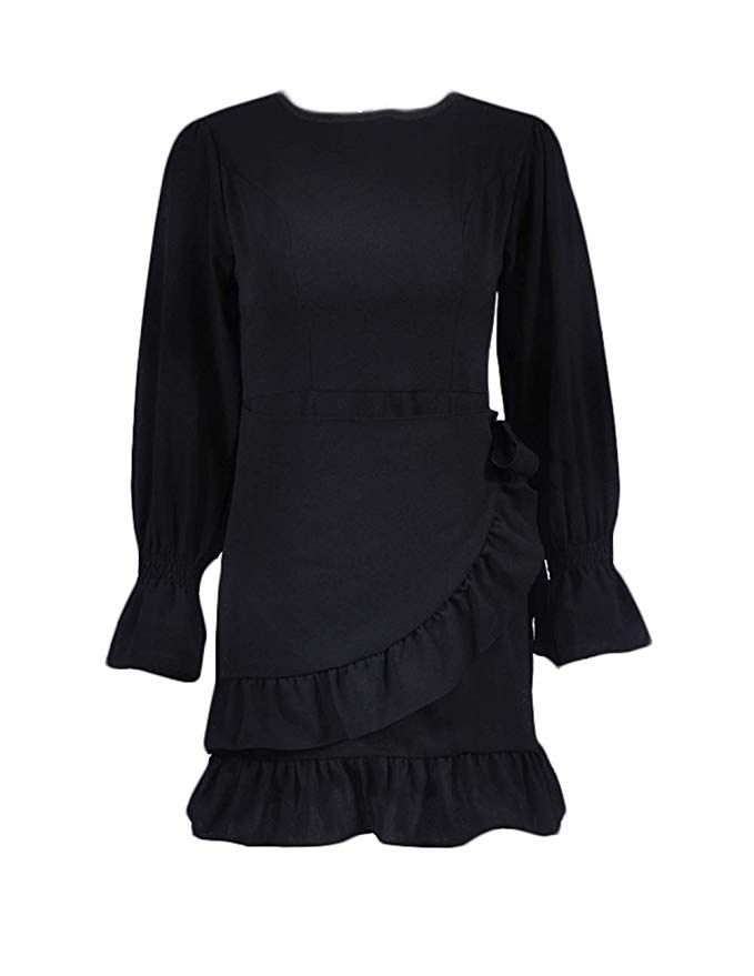 c9048af7721 FOUR CLOUR Women s Sexy Deep V Neck Short Sleeve Ruffle Cocktail Belted  Mini Dress at Amazon Women s Clothing store