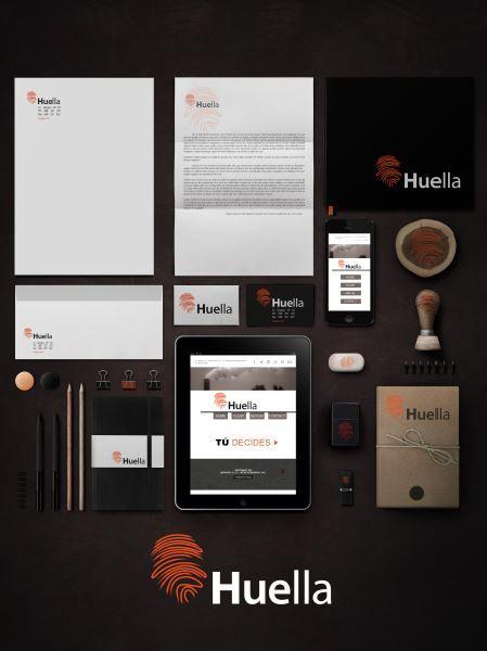 Huella, campaña contra la degradación del medio ambiente.  Logo y aplicación en Mockups y papelería comercial.