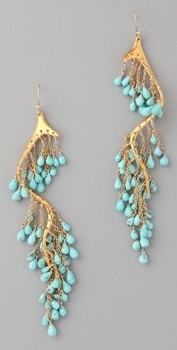 awesome gold dangle earrings with turquoise drops