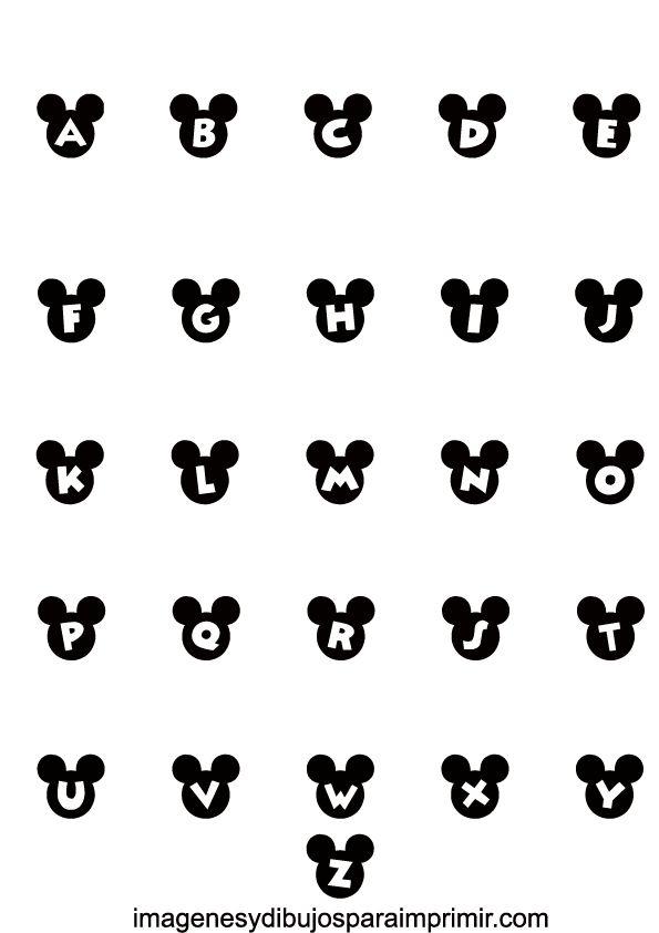Abecedario de mickey mouse para imprimir , hacer realidad cualquier idea para decorar que se te ocurra con las letras con las orejas de Mi...