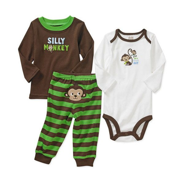 Walmart.com: Child of Mine Carter's - Newborn Boys' Monkey Tee,... (12 AUD) ❤ liked on Polyvore featuring baby and kids clothes
