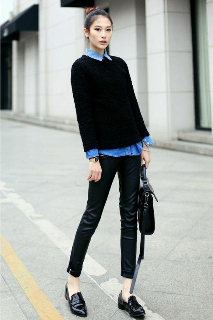 Maglione nero come accento sui vestiti