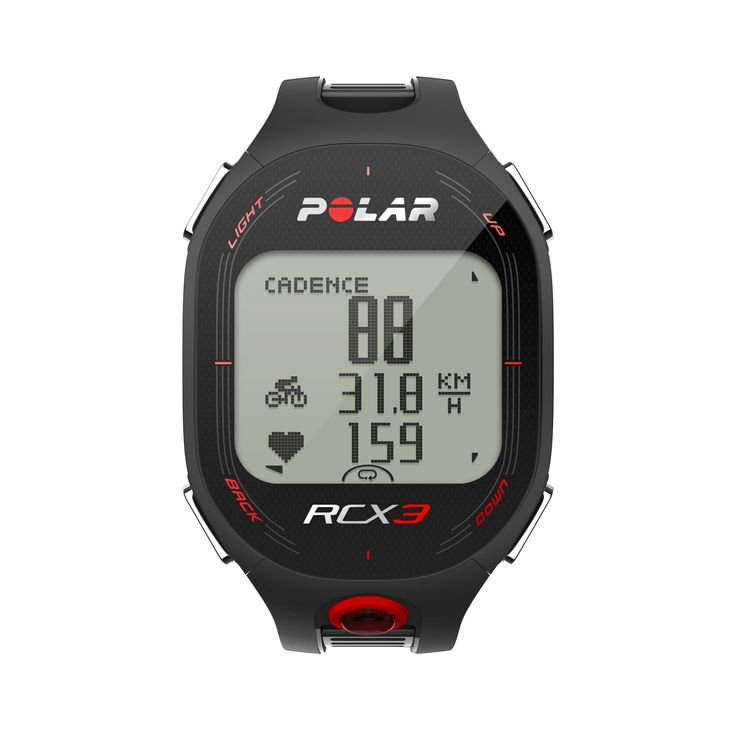 "Polar RCX3M Bike Bike computer with heart monitor black. Polar RCX3 Training Computer / Heart Rate Monitor Watch. Polar H3 Heart Rate Sensor. Polar CS Speed Sensor W.I.N.D and Magnet. W.I.N.D. Features. Zone Optimizer. Polar Sport Zones. Manual Target Zone. Training Load. Fitness Test. Smart Calories. Universal Bike Mount. Polar RCX3 ""Getting Started"" Guide. CS Speed Sensor W.I.N.D. User Manual. Water Resistant - 30m. [Warranty:] 2 Years."