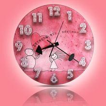 Trasporto libero orologio unico cuore per amore vetro silenzioso orologio da parete. orologi antichi per la decorazione della parete. christmas promozione!(China (Mainland))