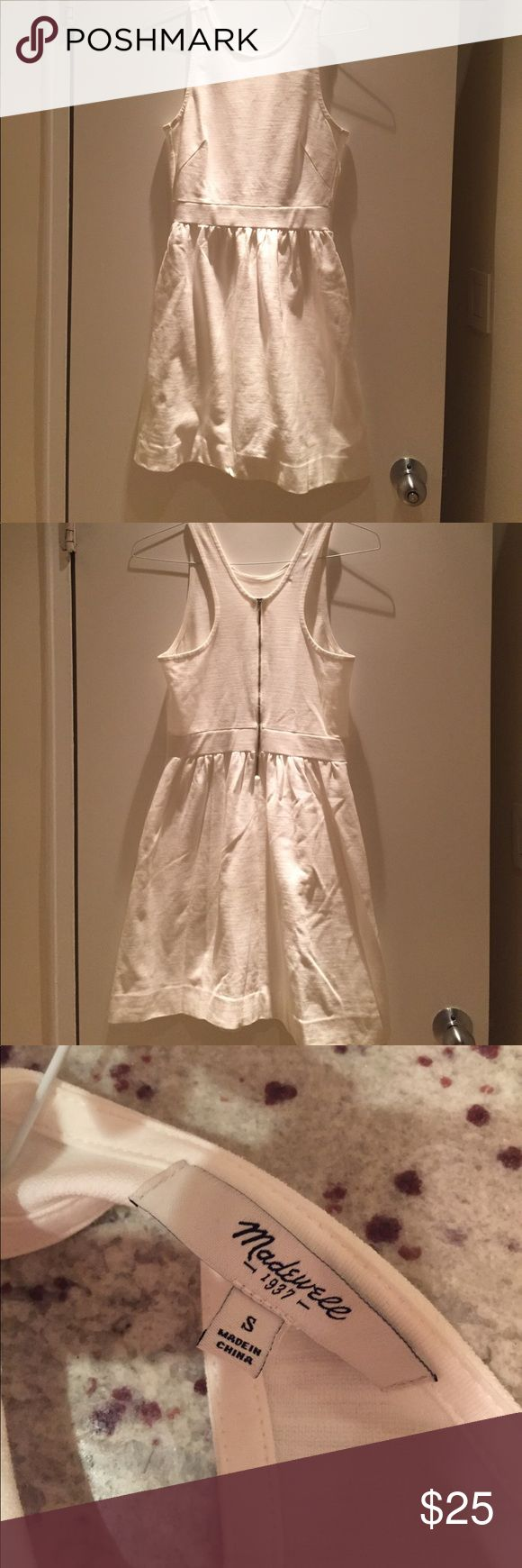White Madewell Afternoon dress White Madewell Afternoon dress. Zipper in back, racer back. Worn a few times and had pockets. Looks really wrinkly but I ironed it (the lighting in my room is really bad!) Madewell Dresses Mini