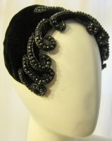 Close-Fitting Black Velvet Hat with Beaded Curls on Either Side: Hats Inspiration, Velvet Hats, Close Fit Hats