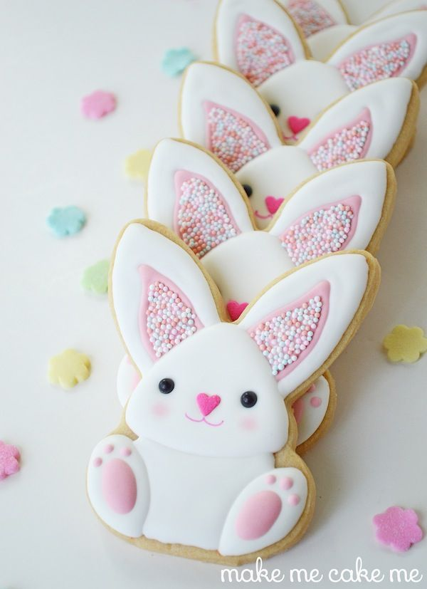 Sprinkle-y Easter Bunny Cookies | Make Me Cake Me