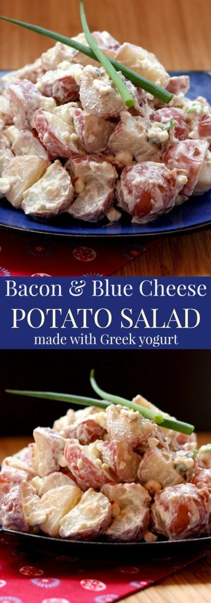 Bacon and Blue Cheese Potato Salad - a lightened up side dish recipe with Greek yogurt instead of mayo, and just enough bacon and blue cheese to pack tons of flavor.   cupcakesandkalech...