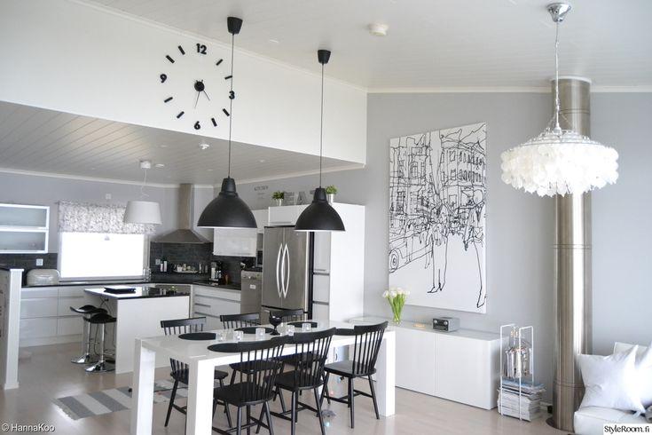 keittiö,mustavalkoinen sisustus,vaaleanharmaa seinä,pinnatuolit  Sisustus