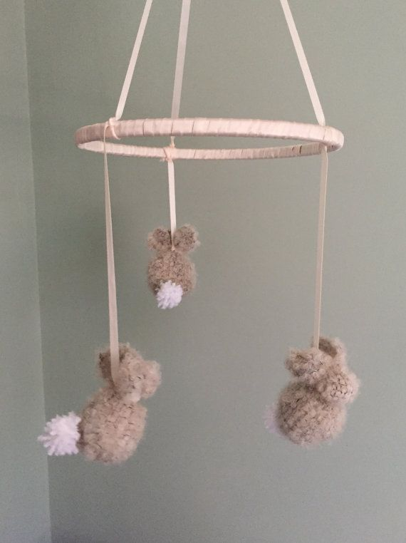 Bunny baby mobile brown wool bunnies Knitted bunnies baby