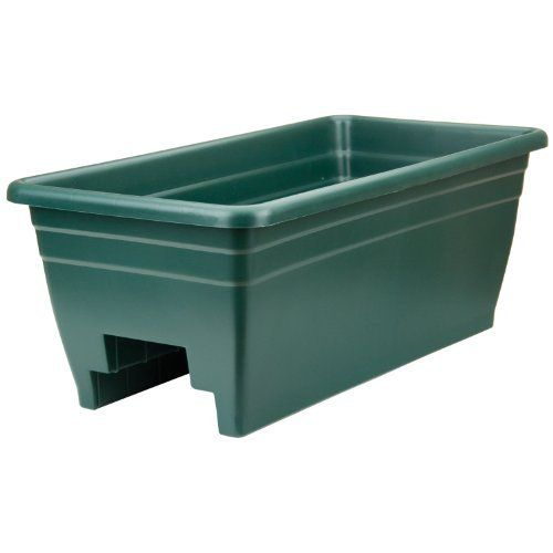 "Green Deck Rail Planter by Akro-Mils. $19.71. Sold as single unit. Hunter Green. Great drainage. Designed to fit two sizes of rails, 2"" x 4"" and 2"". Thick, durable wall construction. The deck box planter is designed to fit two sizes of deck rails 2-inch by 4-inch and 2-inch by 6-inch. Great drainage and easy to remove drain plugs. Thick, durable wall construction. Enhances deck settings. Available in hunter green color. It measures 24-inch length by 24-inch height by 12..."