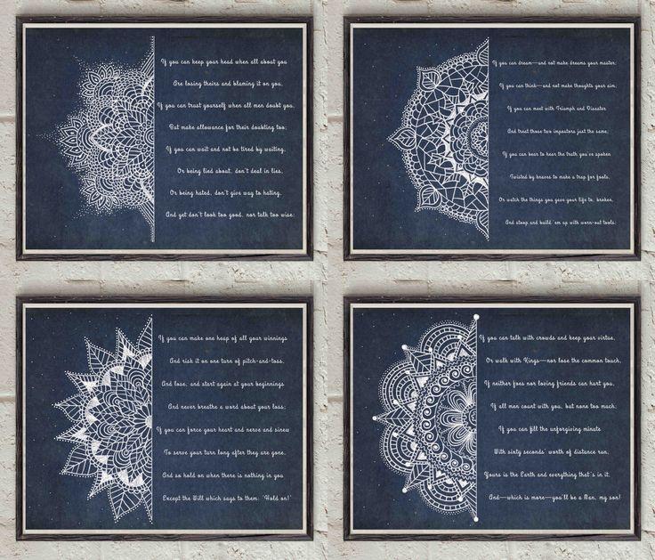 Rudyard Kipling - If Poem - Four Verses - Four Prints - Mandala Designs - Decorative Wall Art - Digital Poetry Pack - Printable Kit by Lepetitchaperon on Etsy