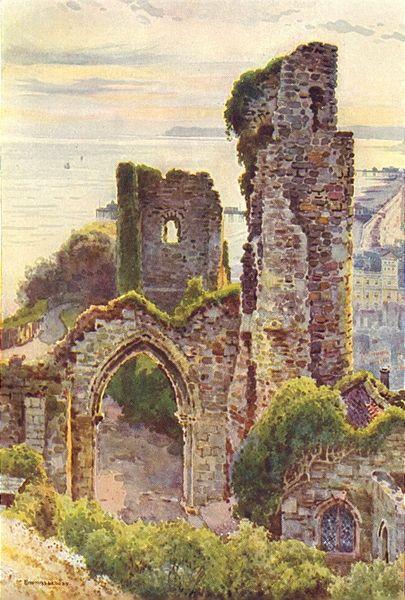 sussexcastles hastings castle colour antique print from a watercolour 1920 - Castles Pictures To Colour