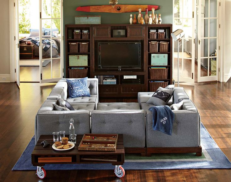 Lounge Room Decorating Ideas | Room within Room | PBteen Love this color scheme for a guys hangout zone. Also love the wraparound couch.