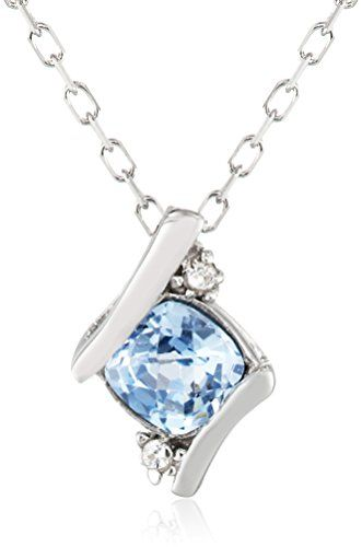 Sterling Silver Created Aquamarine Pendant Necklace – Jewelry from Selena