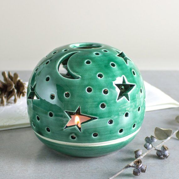Outdoor lantern Stars Candle Holder Emerald green Home Decor Handmade Ceramic wedding table decorations Boho luminary Star Moon