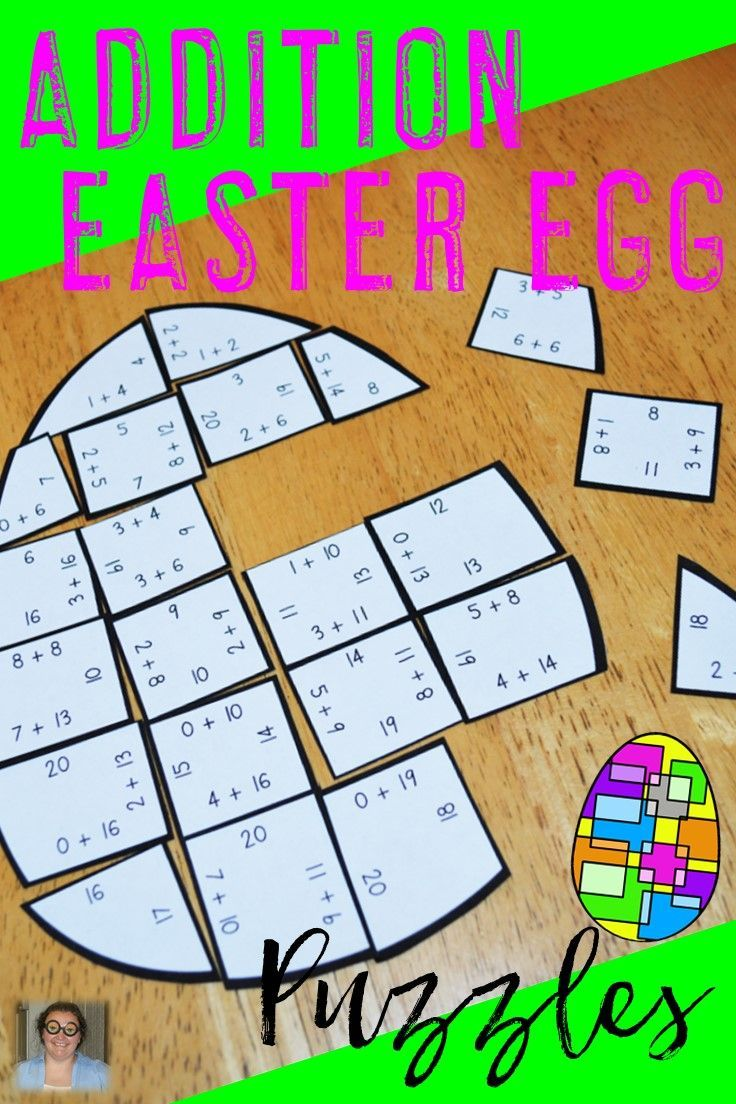 Easter Addition Egg Shaped Puzzles - These puzzles are perfect for math centers during Easter week. Each of the three puzzles will have students answer 34 different addition problems within 20. They're perfect for first, second, or third grade students. Use them for early or fast finishers, review, enrichment, GATE, critical thinking, math centers, and more! Click through to pick yours up today! $ {1st, 2nd, or 3rd graders}