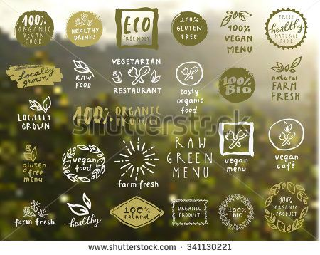 Organic food labels vector set. Fresh healthy food icons. Vintage badges for restaurant menu or food package design on blurred rural background - stock vector