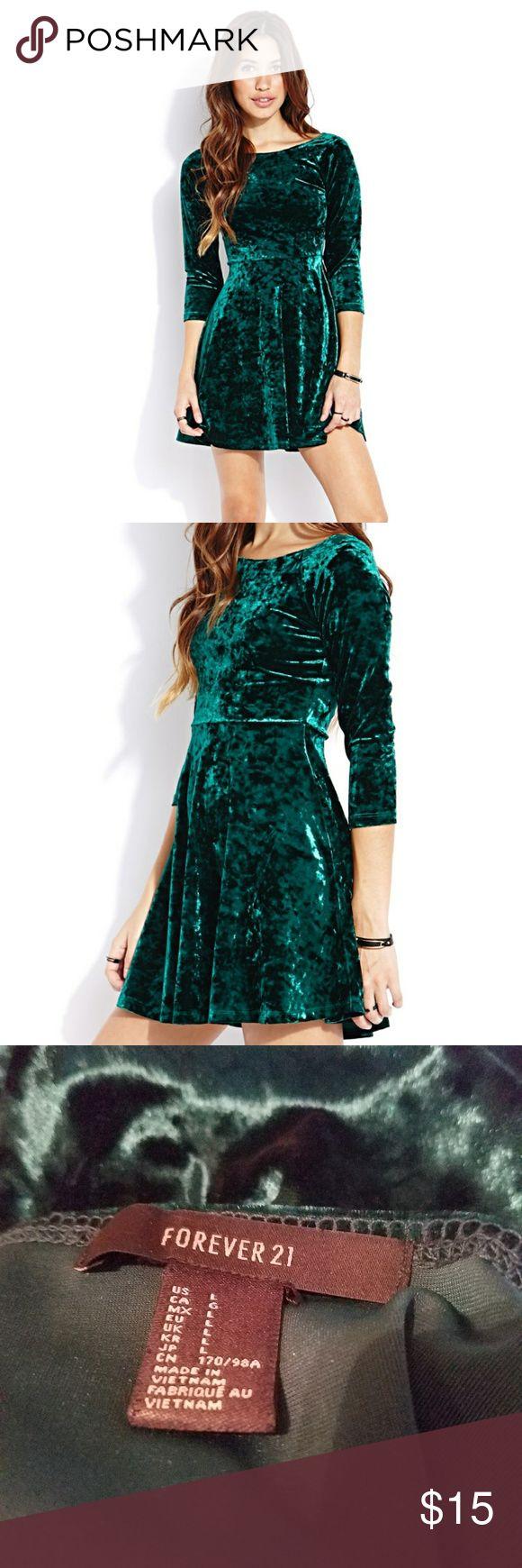 Forever21 emerald green crushed velvet dress Skater dress style nwot Forever 21 Dresses Midi