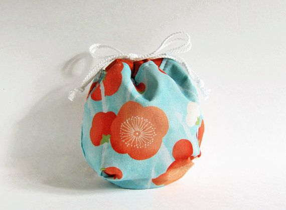 Yarn cozy  ~ Round bottom cute drawstring bag to store your yarn ball. Japanese Piony cotton.  Handmade by SiamSquare on Etsy.