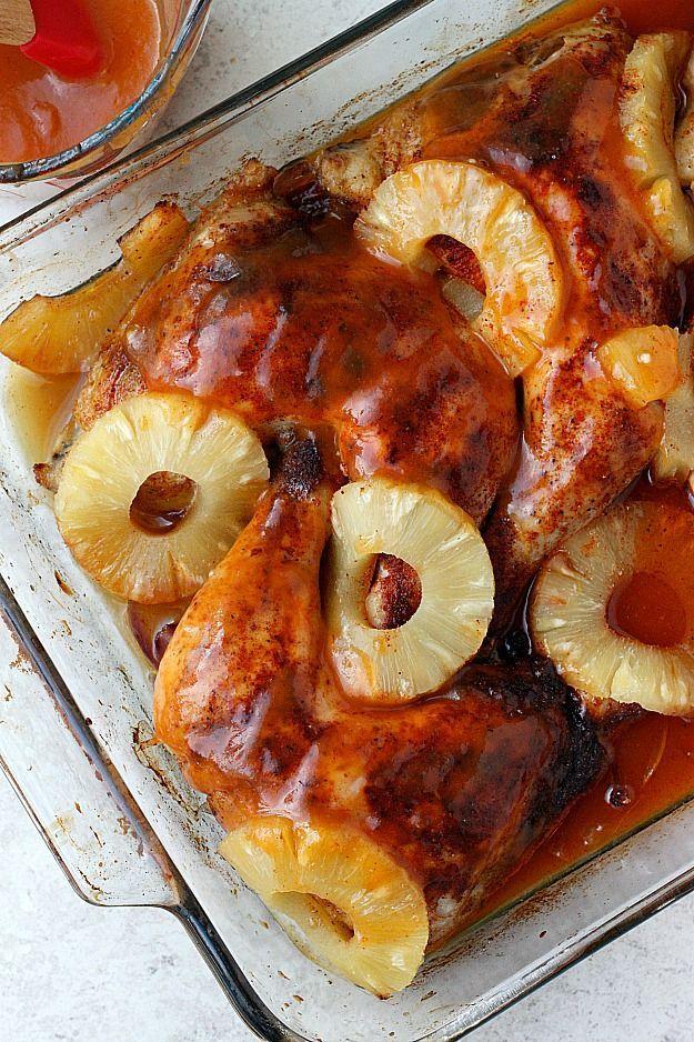 Pineapple Sriracha Glazed Chicken Quarters - Fabtastic Eats
