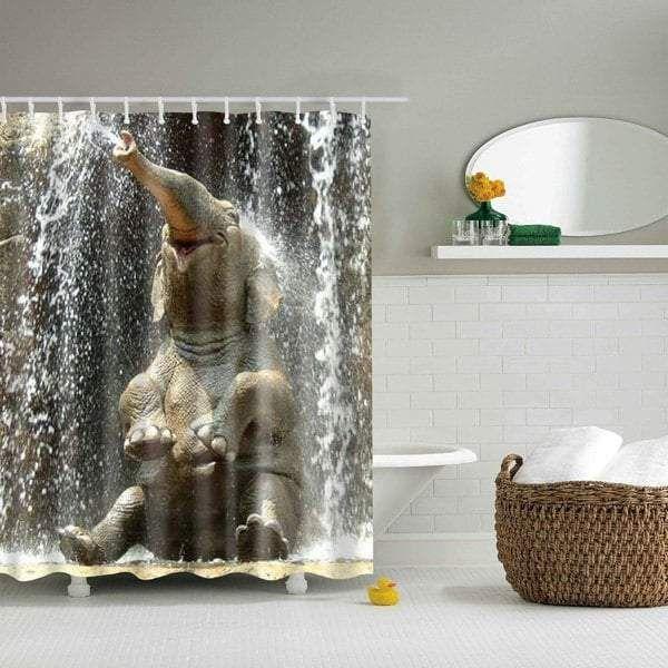 Elephant Spraying Water Shower Curtain Happy Bath Decor Bathroom