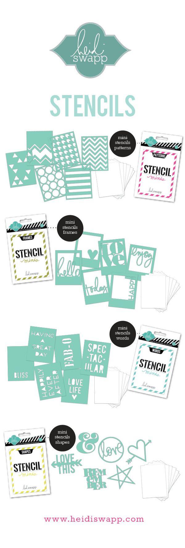 #HeidiSwapp NEW Stencil Minis shipping March 2014 #stencilmagic