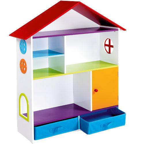 Un ravissant meuble aux couleurs très gaies avec étagères, casier et tiroirs pour ranger figurines, jeux et accessoires.