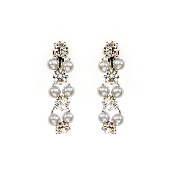 Rhinestone and Metallic Silver Pearl Clip-On Earrings